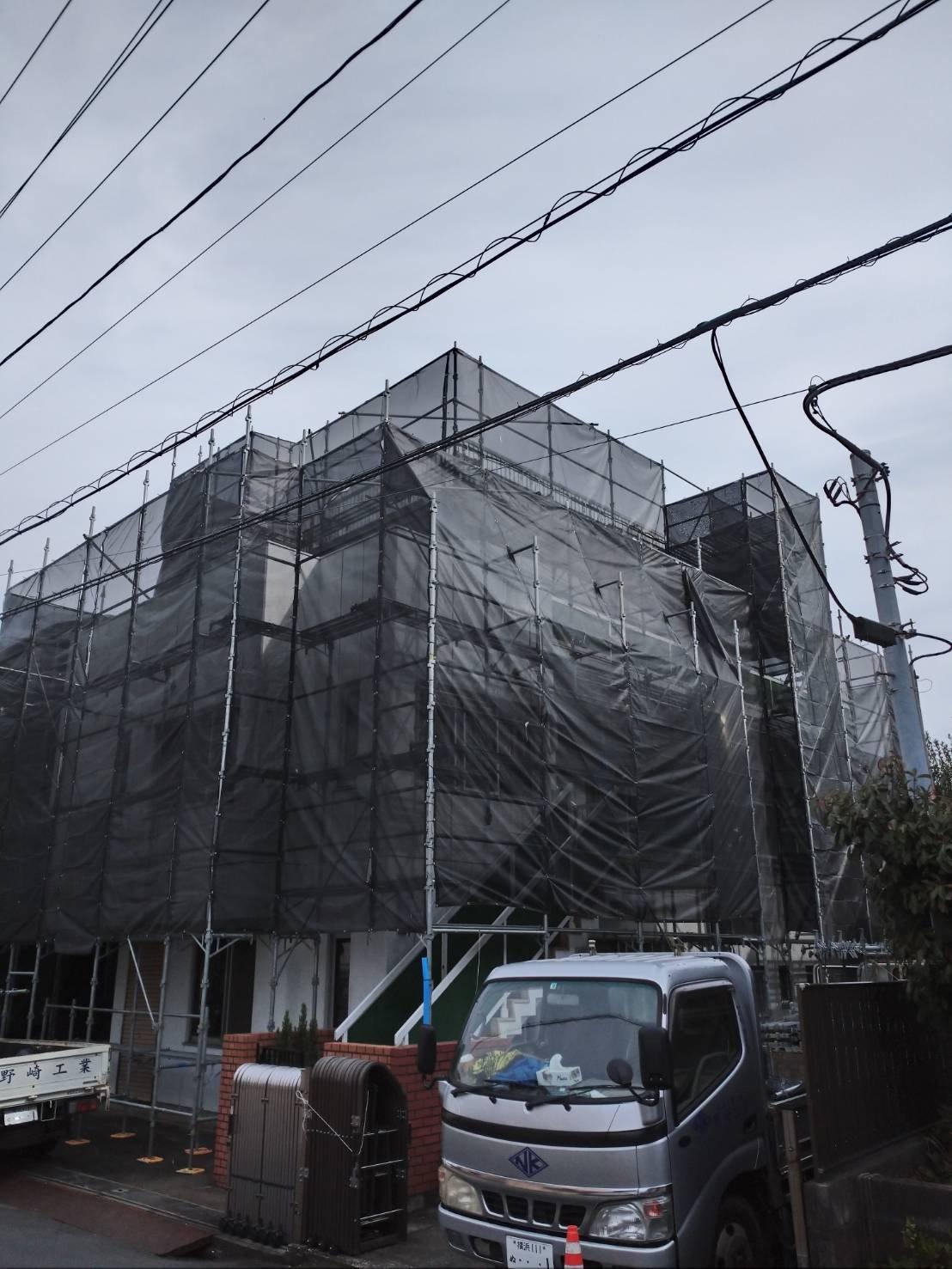 野崎工業 足場工事施工事例                   神奈川県横須賀市衣笠町