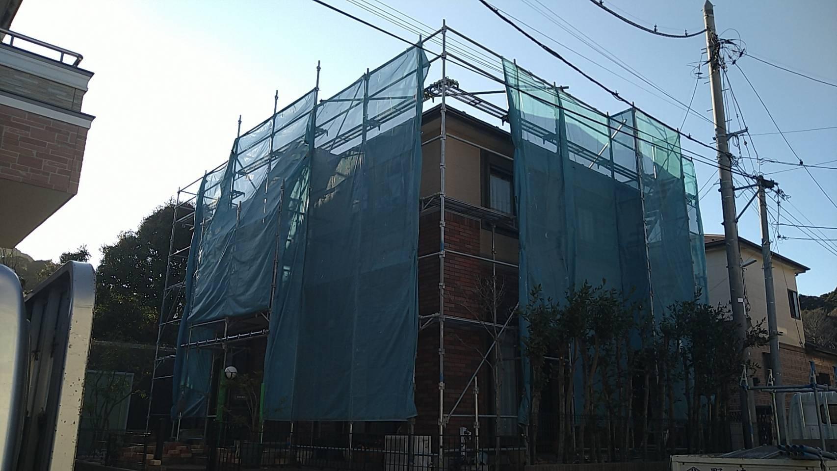 野崎工業 足場工事施工事例                神奈川県横須賀市浦賀丘                    外壁塗装 屋根塗装