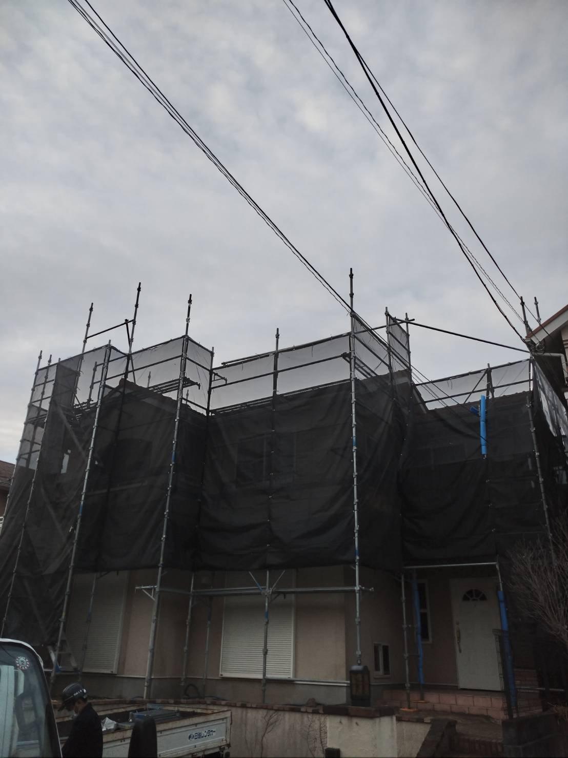 野崎工業 足場工事施工事例              神奈川県横須賀市池上                        外壁塗装