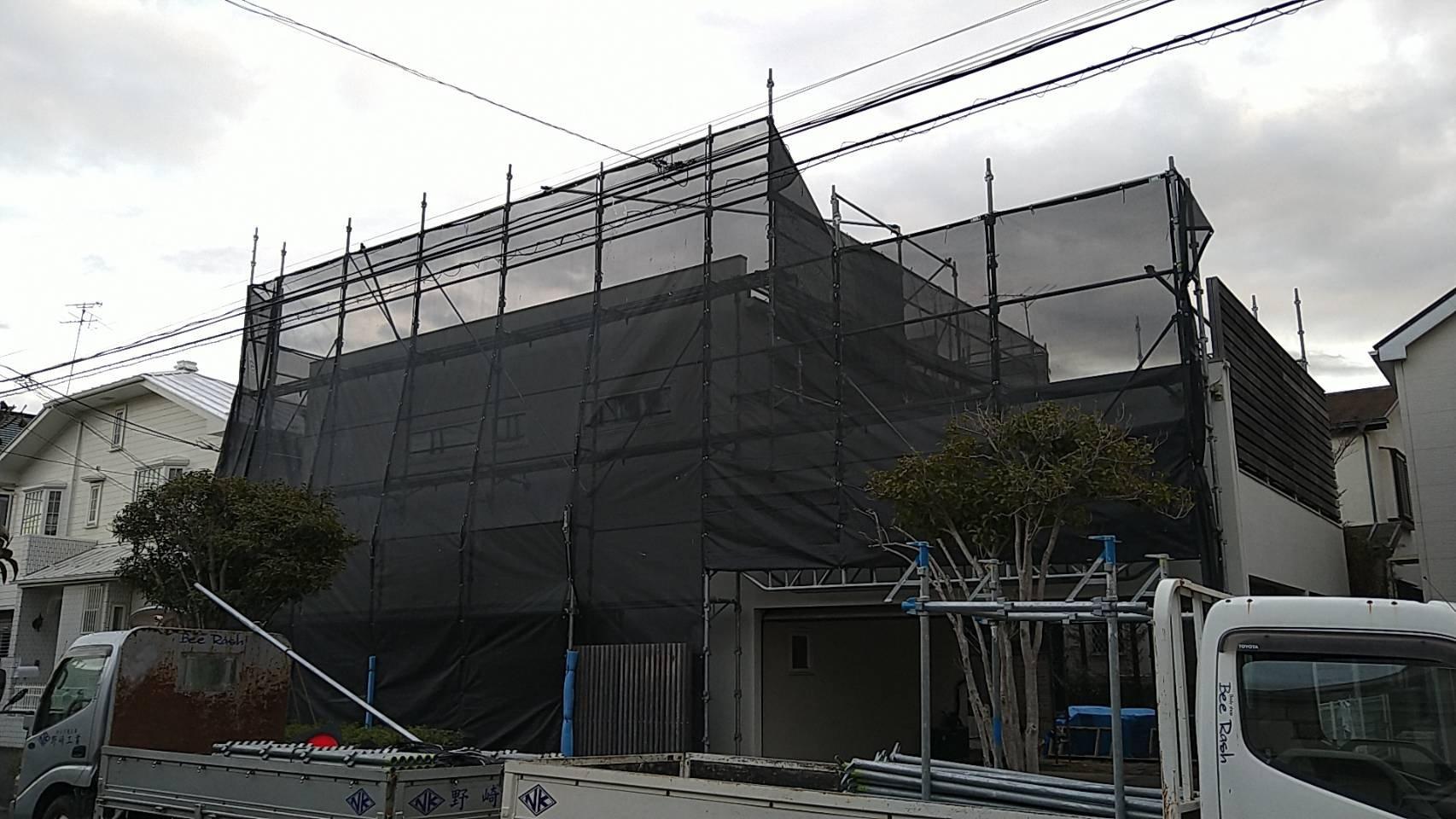 野崎工業 足場工事 施工事例                          神奈川県横浜市金沢区                               外壁塗装