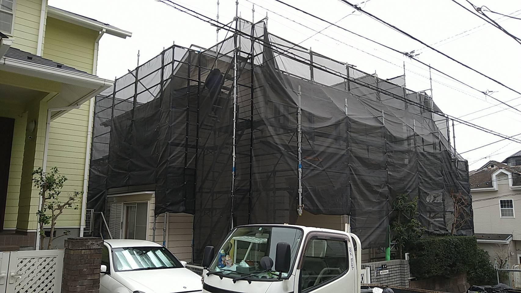 野崎工業 足場工事 施工事例                 神奈川県横浜市金沢区                                       外壁塗装 屋根塗装