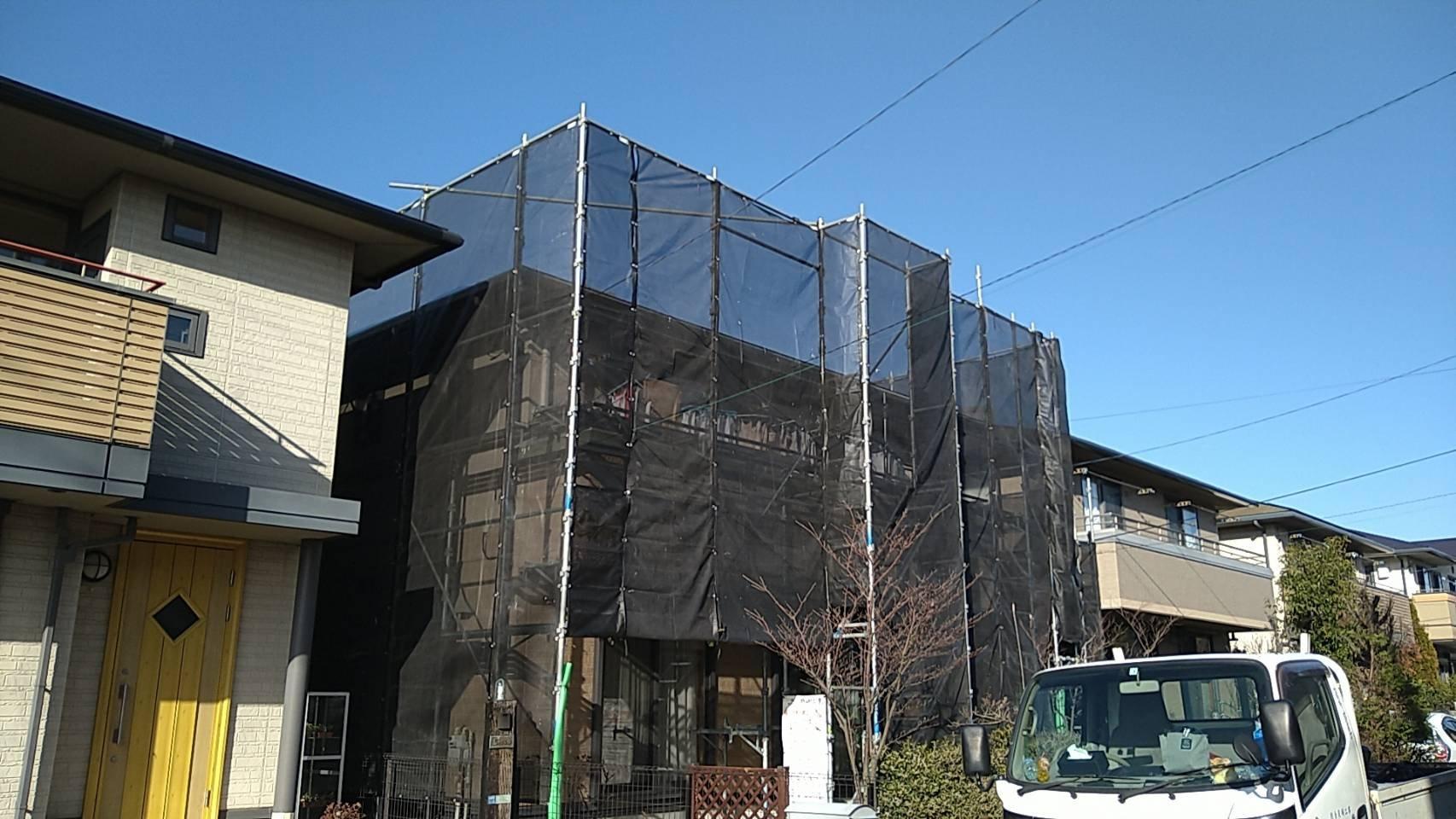 野崎工業 足場工事 施工事例                  神奈川県横須賀市池田町                            外壁塗装