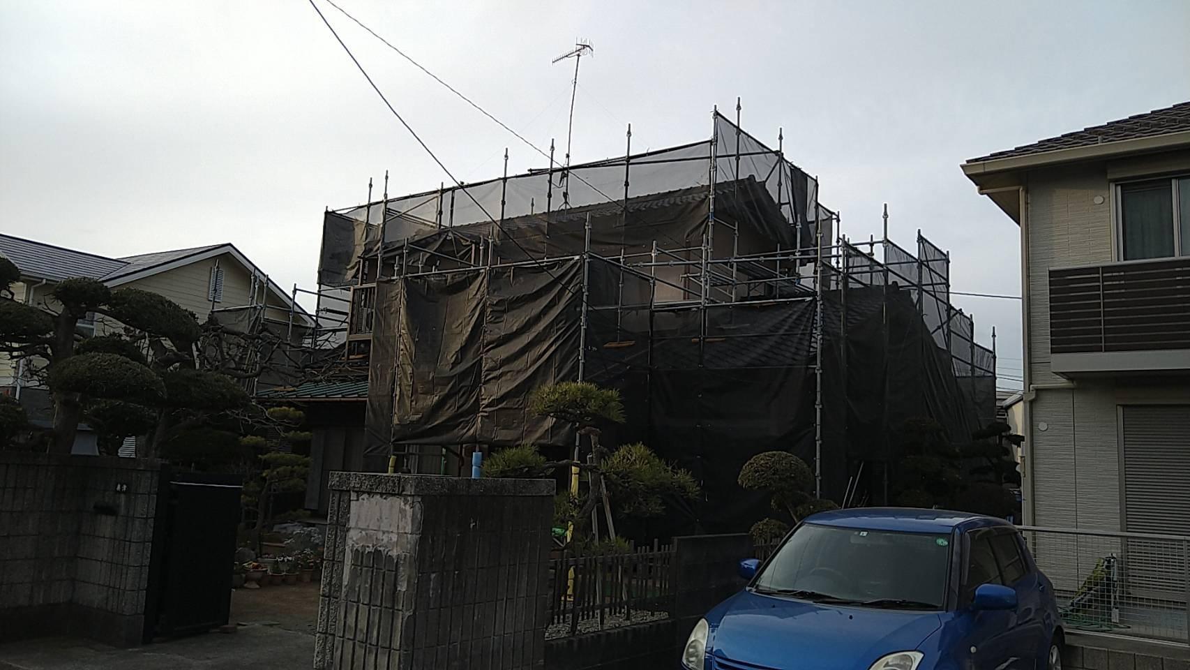 野崎工業 足場工事 施工事例             神奈川県茅ヶ崎市                                   外壁塗装