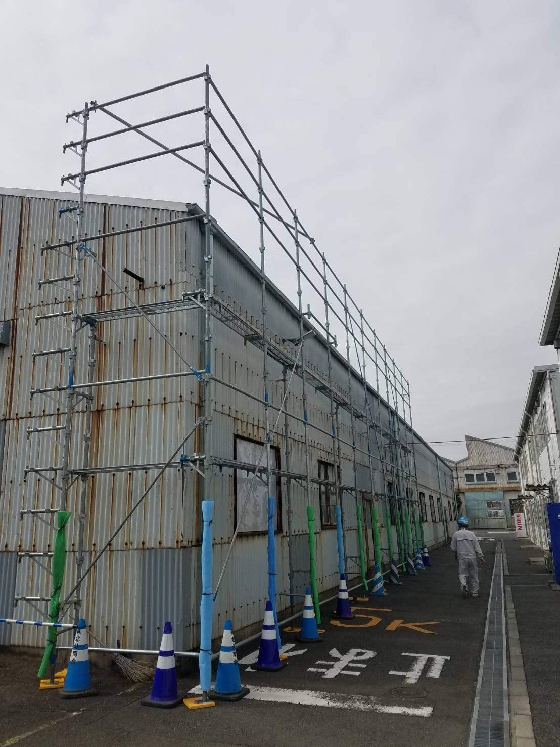 野崎工業 横浜市金沢区                           足場工事 施工事例                                    工場内 部分足場工事