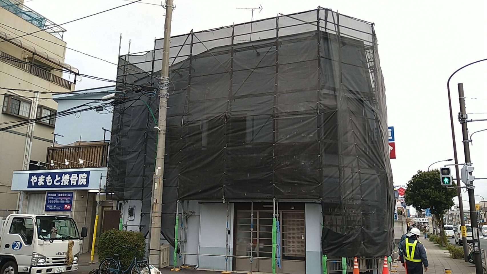 野崎工業 神奈川県横須賀市三春町 足場工事 施工事例                          外壁塗装