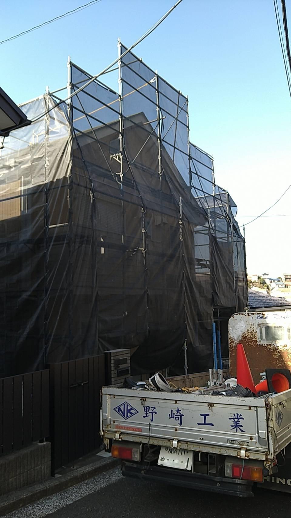 野崎工業 神奈川県横浜市港南区 足場工事 施工事例                                        外壁塗装