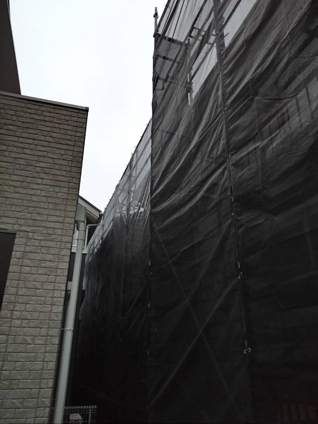 野崎工業 神奈川県逗子市                  足場工事 施工事例                                  屋根葺き替え 外壁塗装