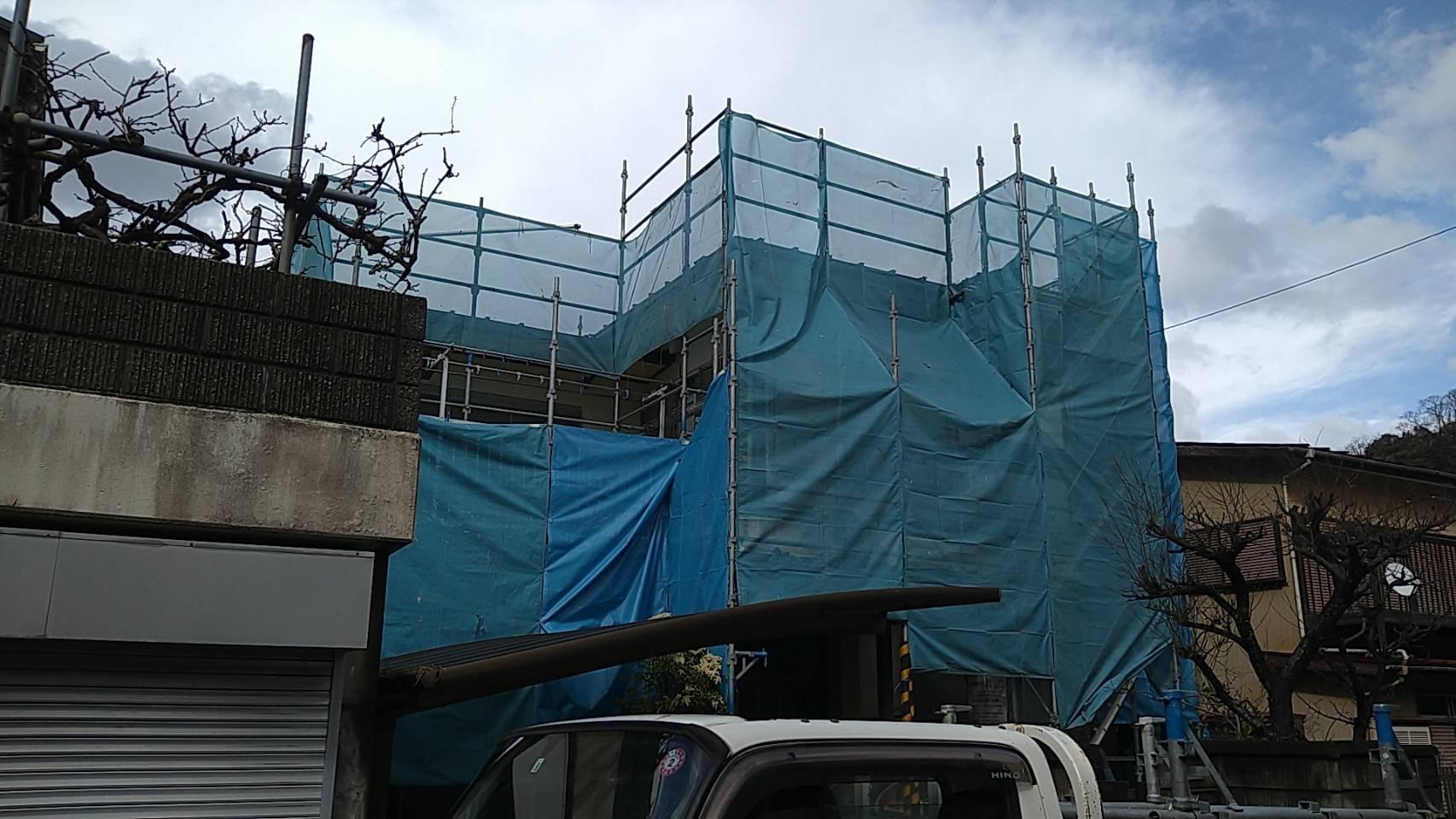 野崎工業 神奈川県横須賀市岩戸 足場工事 施工事例                         外壁塗装