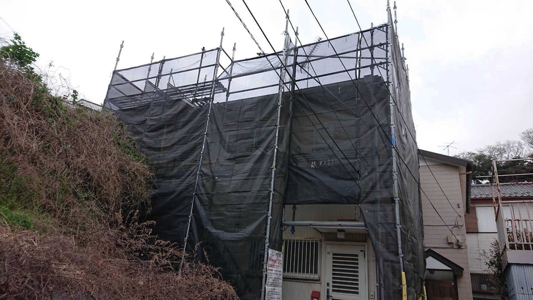 野崎工業 神奈川県横須賀市三春町  足場工事 施工事例                               外壁塗装 屋根工事