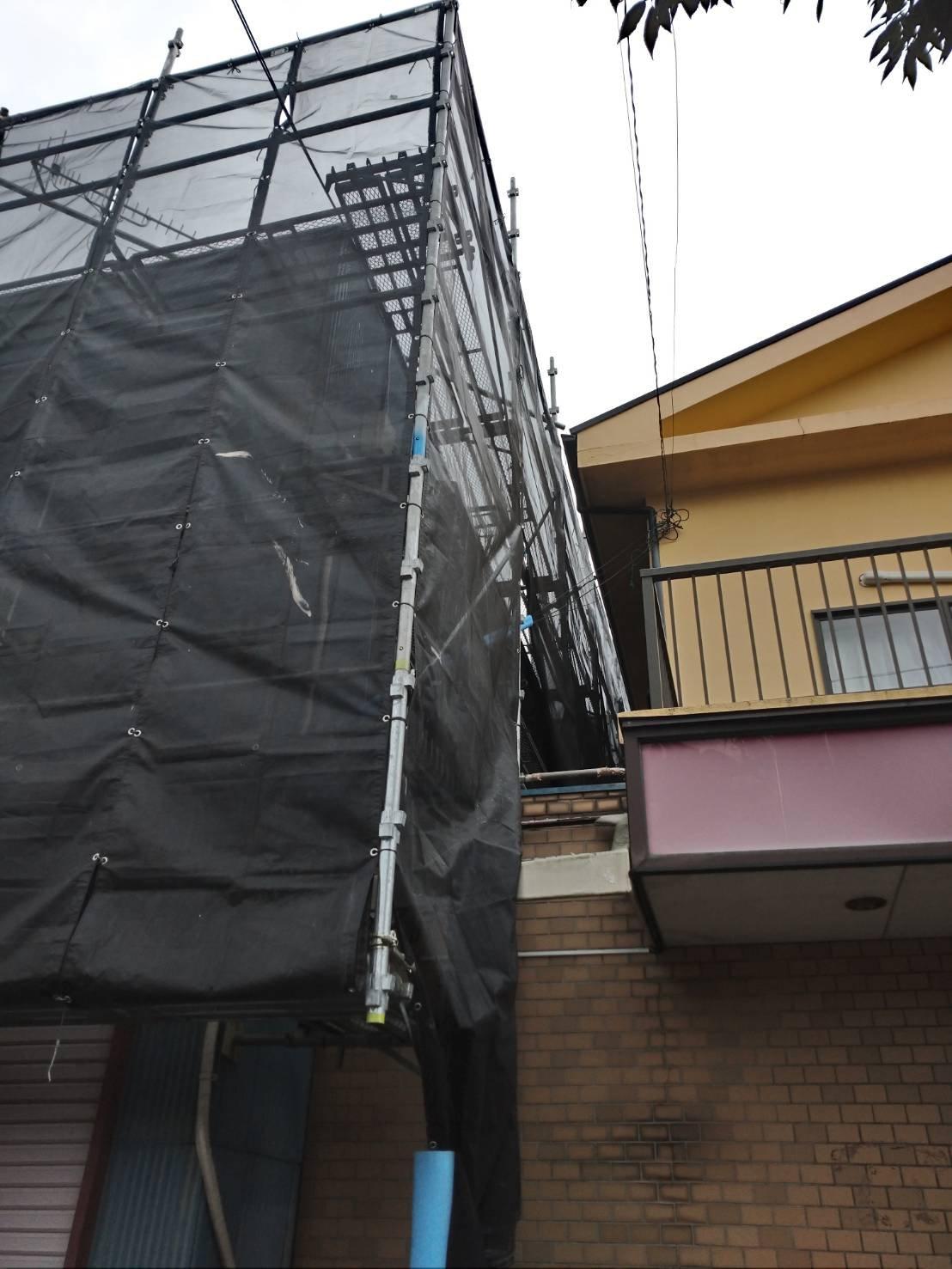 野崎工業 神奈川県横須賀市池上 足場工事 施工事例                             道路使用許可 外壁塗装