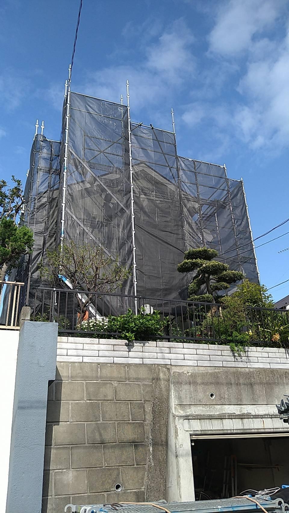 野崎工業 神奈川県横浜市金沢区 足場工事 施工事例                             外壁塗装 屋根塗装