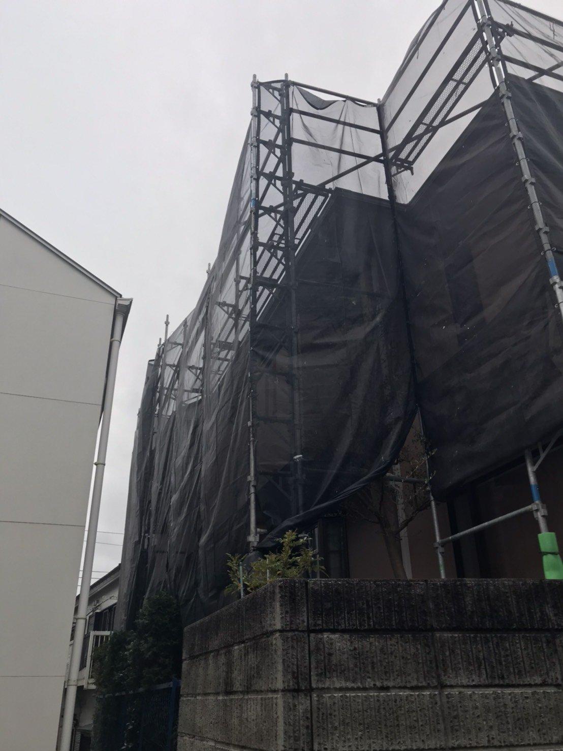 野崎工業 東京都町田市 足場工事施工事例     屋根葺き替え工事