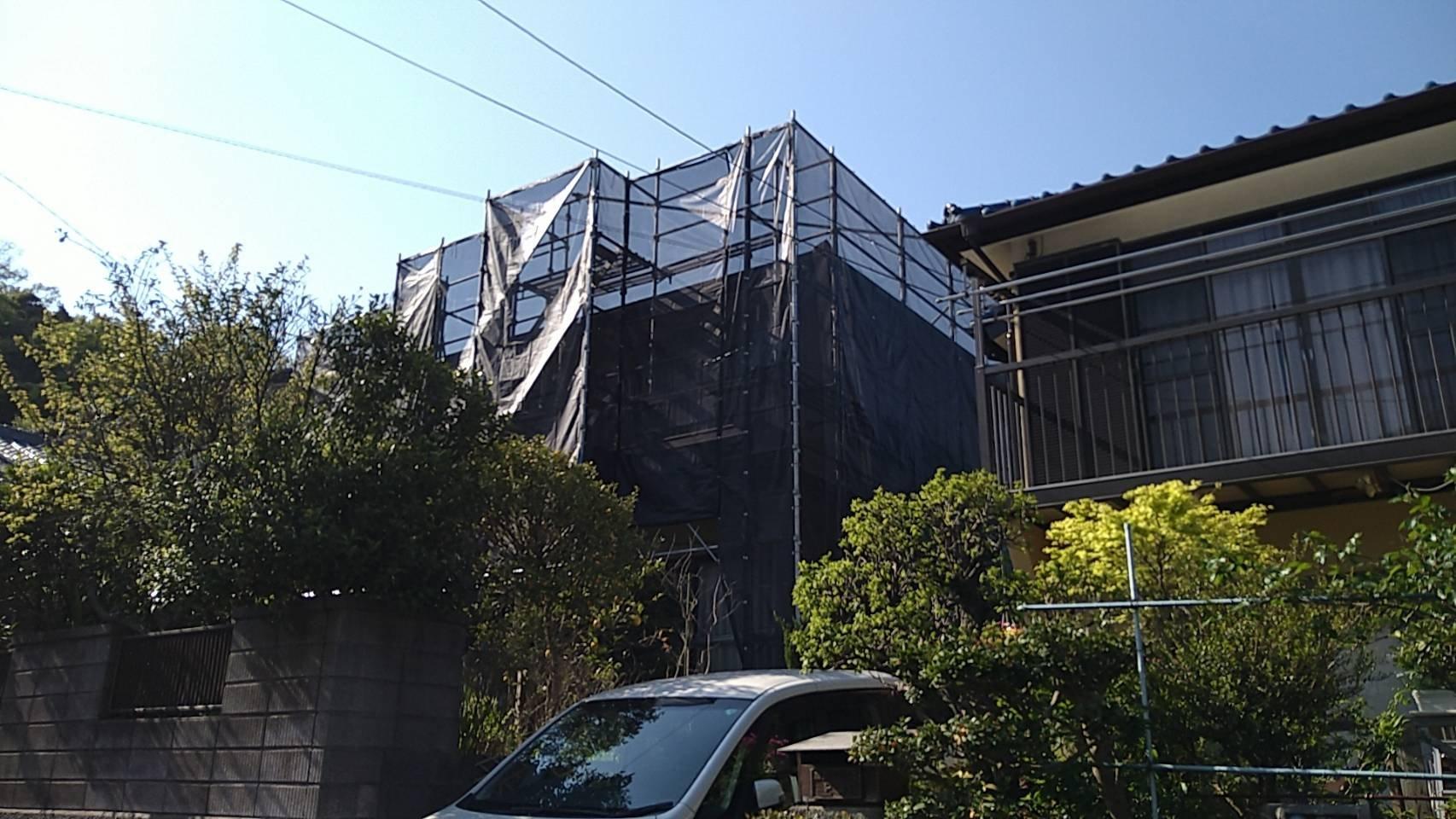 野崎工業 神奈川県横須賀市粟田 足場工事 施工事例                                   外壁塗装 屋根塗装