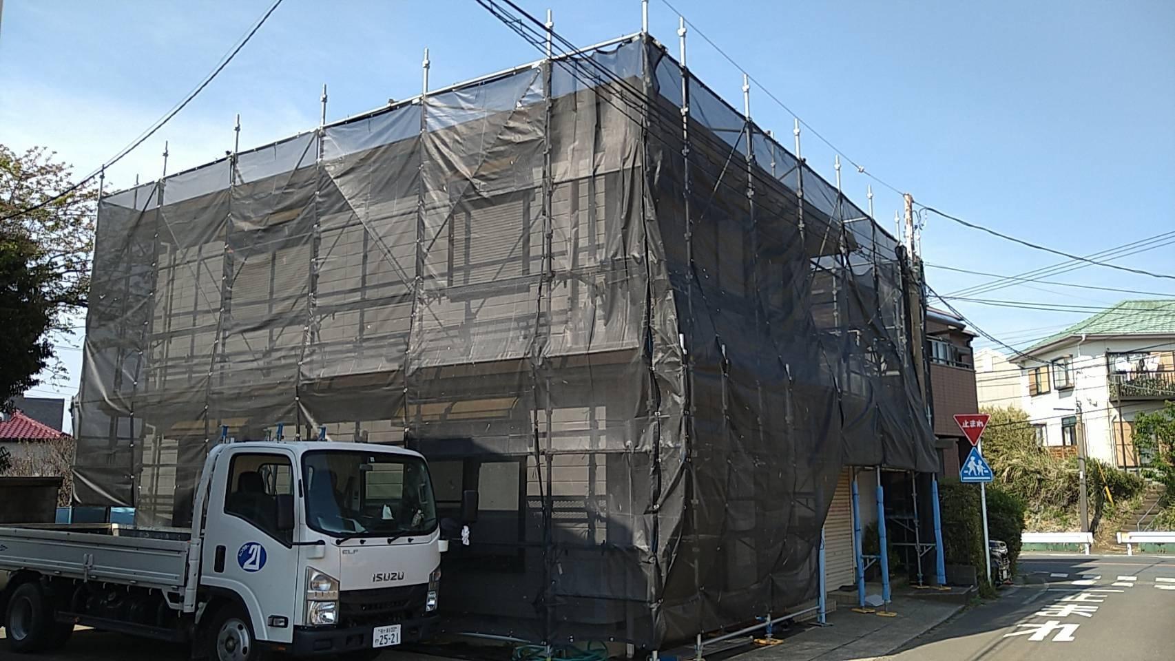 野崎工業 神奈川県三浦市 足場工事 施工事例 外壁塗装