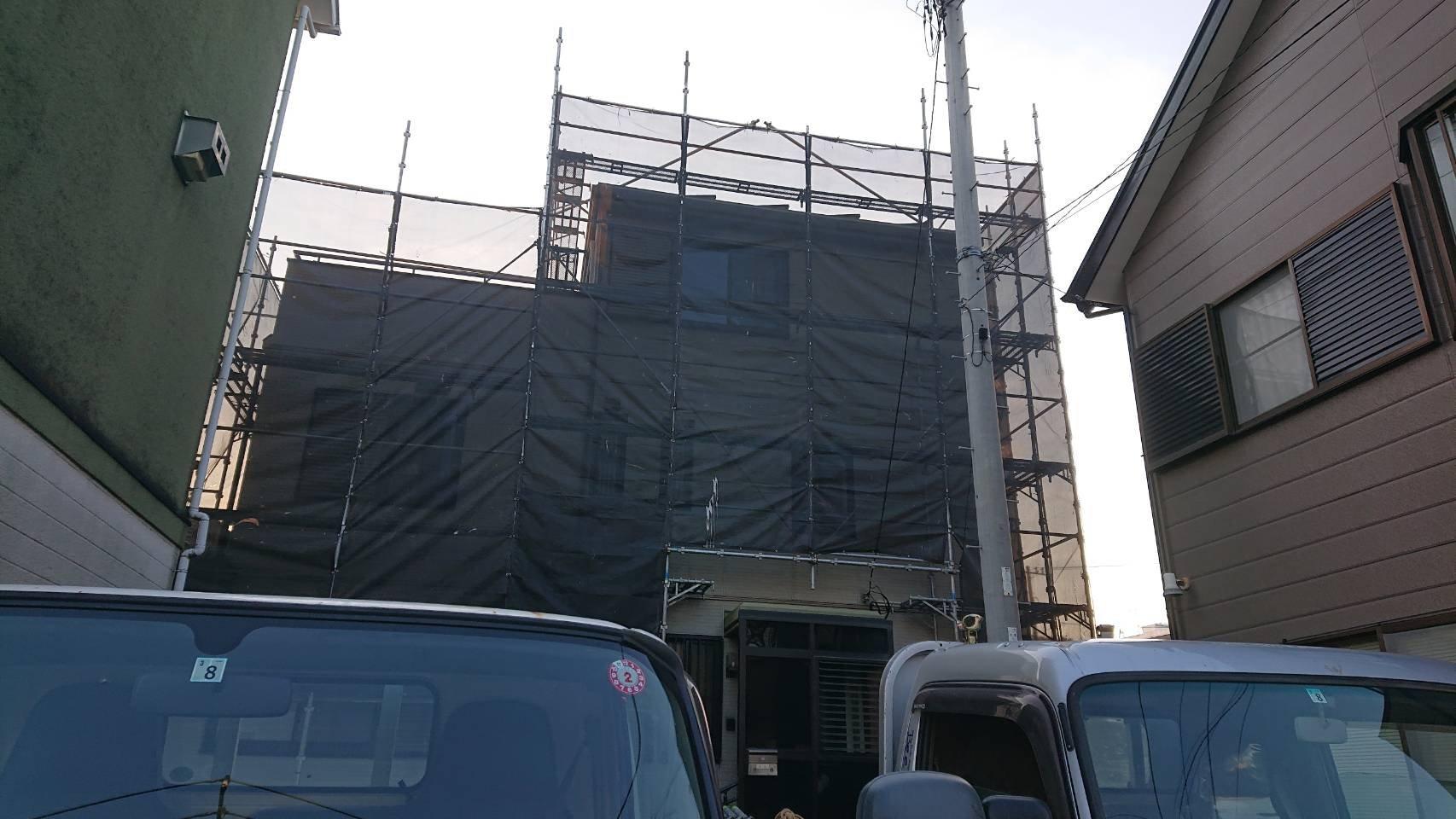 野崎工業 神奈川県大磯町 足場工事 施工事例 外壁塗装
