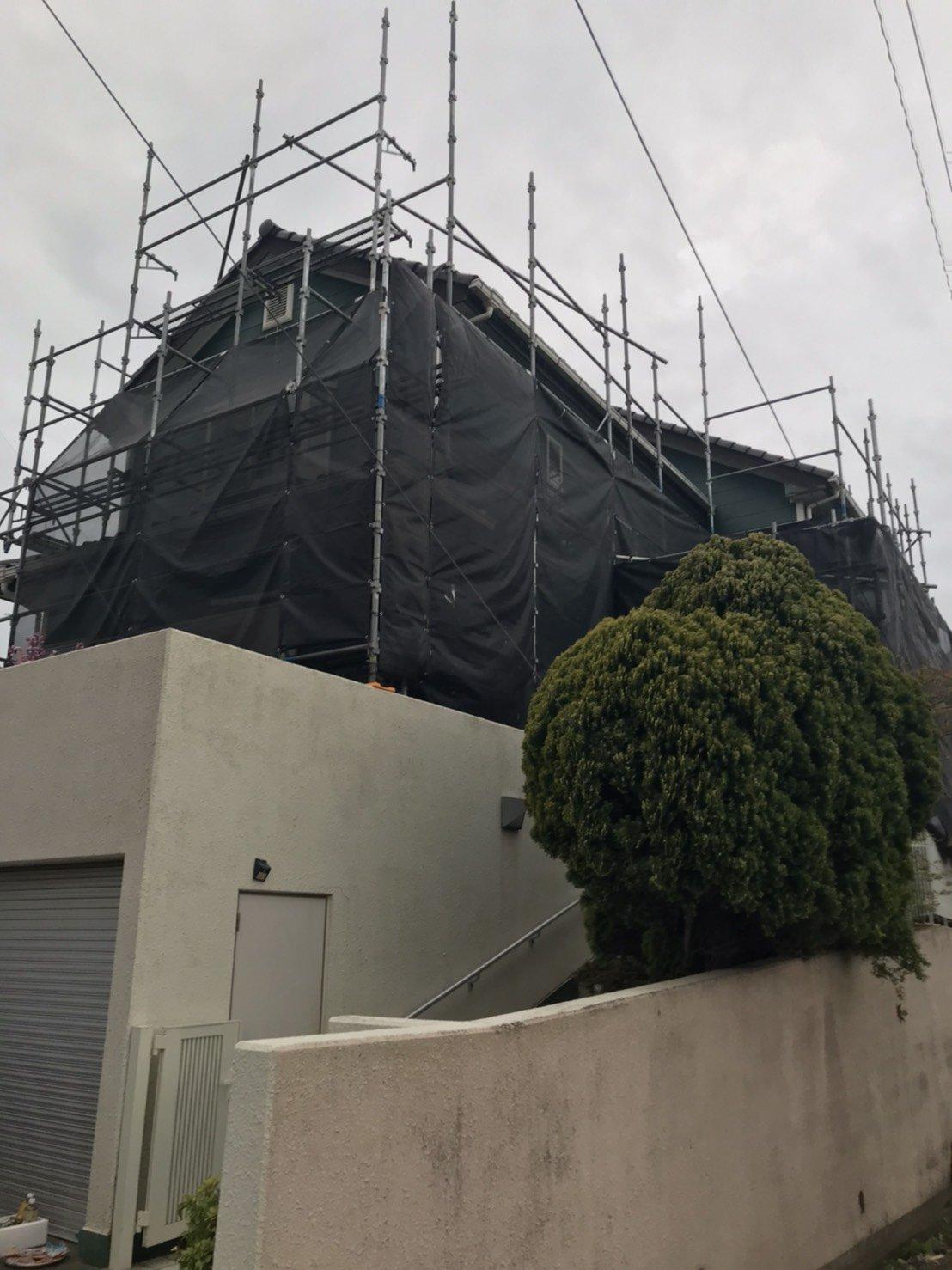 野崎工業 神奈川県横須賀市長井 足場工事 施工事例                                 外壁塗装