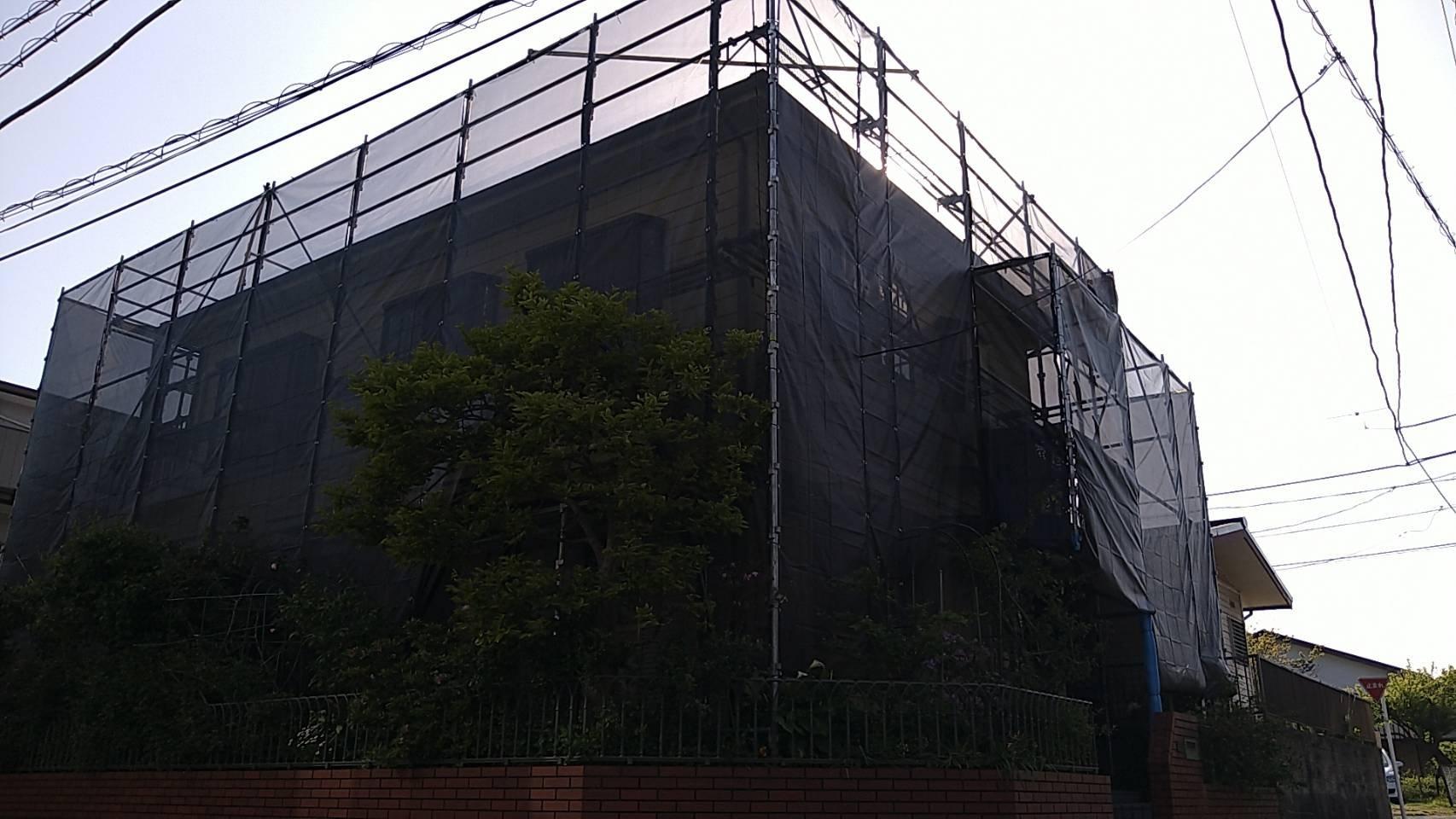 野崎工業 神奈川県横須賀市鴨居 足場工事 施工事例                             外壁塗装 屋根塗装