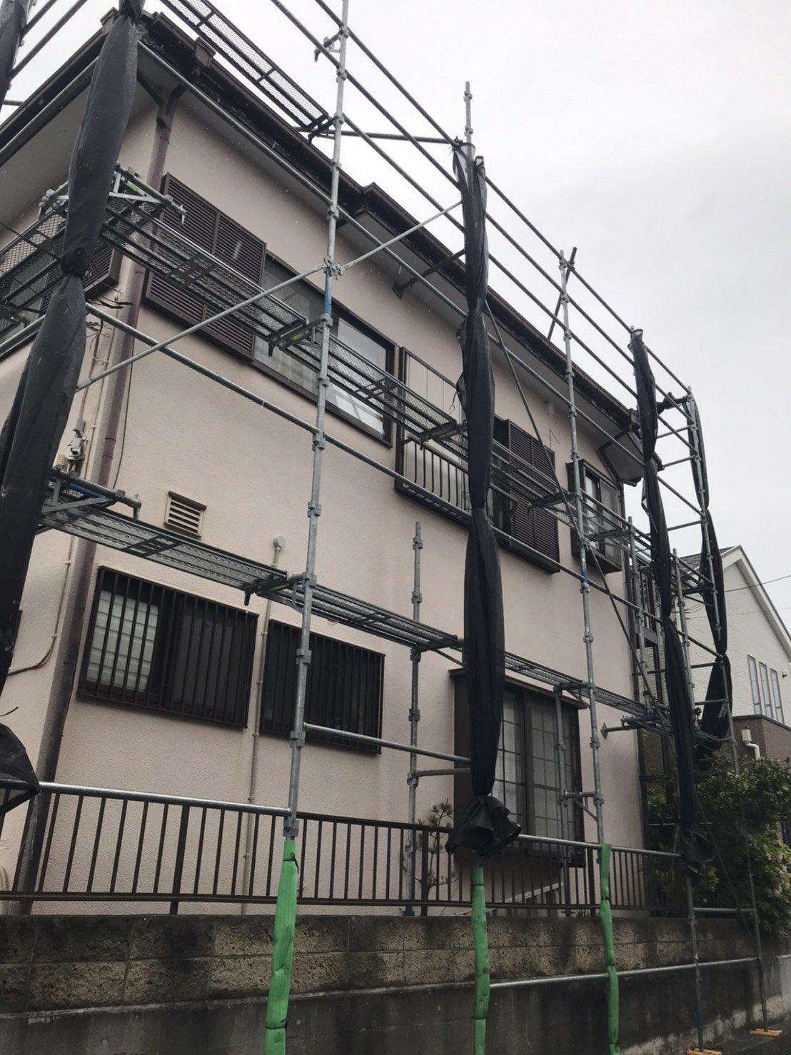 野崎工業 神奈川県横須賀市野比 足場工事 施工事例                               外壁塗装用足場