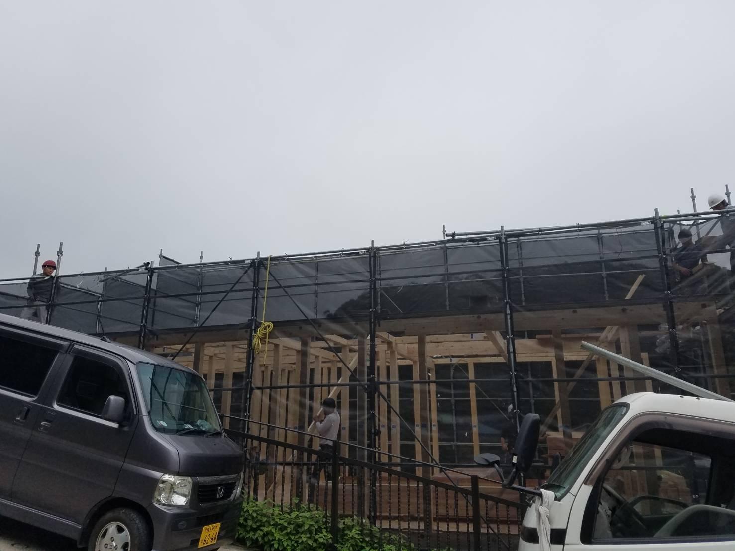 神奈川県横須賀市西逸見町 足場工事 施工事例 新築 上棟