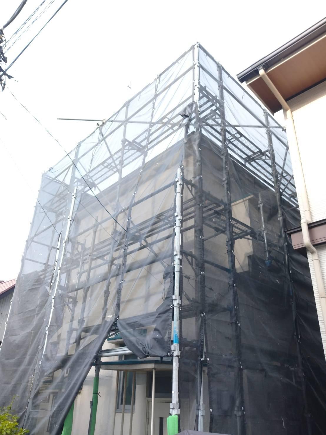 神奈川県横須賀市三春町 足場工事施工事例 外壁塗装