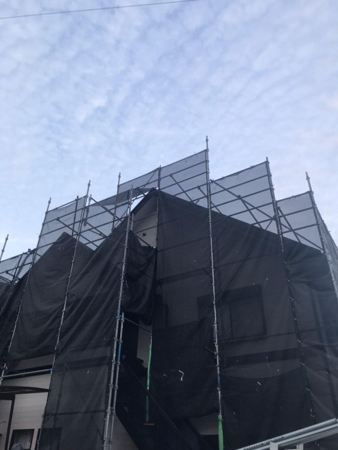 神奈川県横須賀市平作 足場工事施工事例 屋根足場