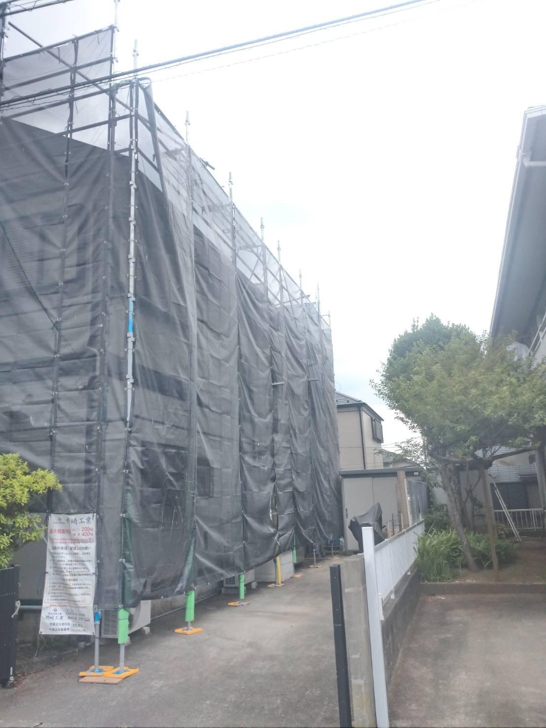 東京都八王子市 足場工事施工事例 屋根工事