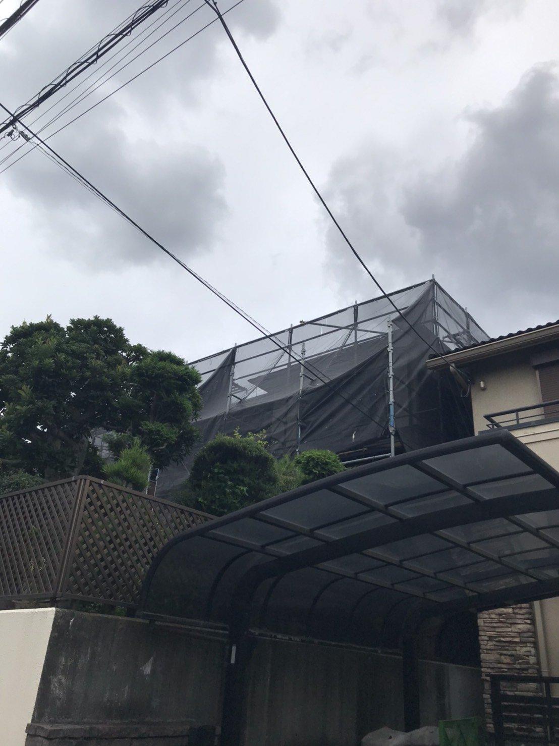 神奈川県大和市 足場工事 施工事例 屋根工事