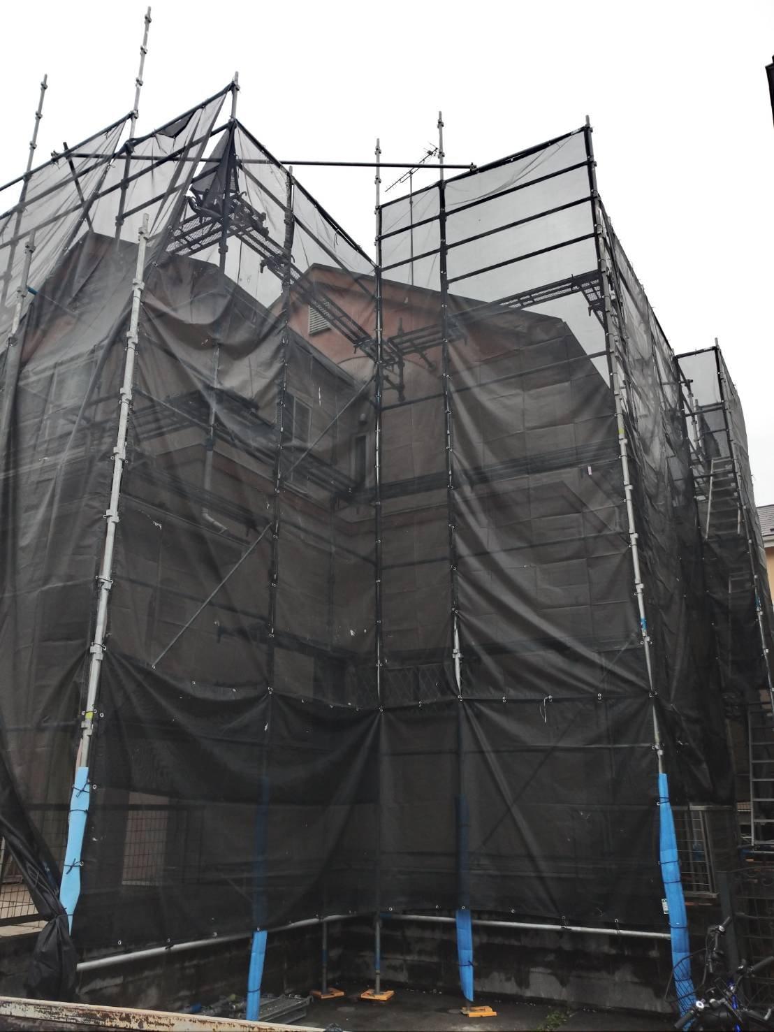 東京都八王子市 足場工事施工事例 です外壁塗装