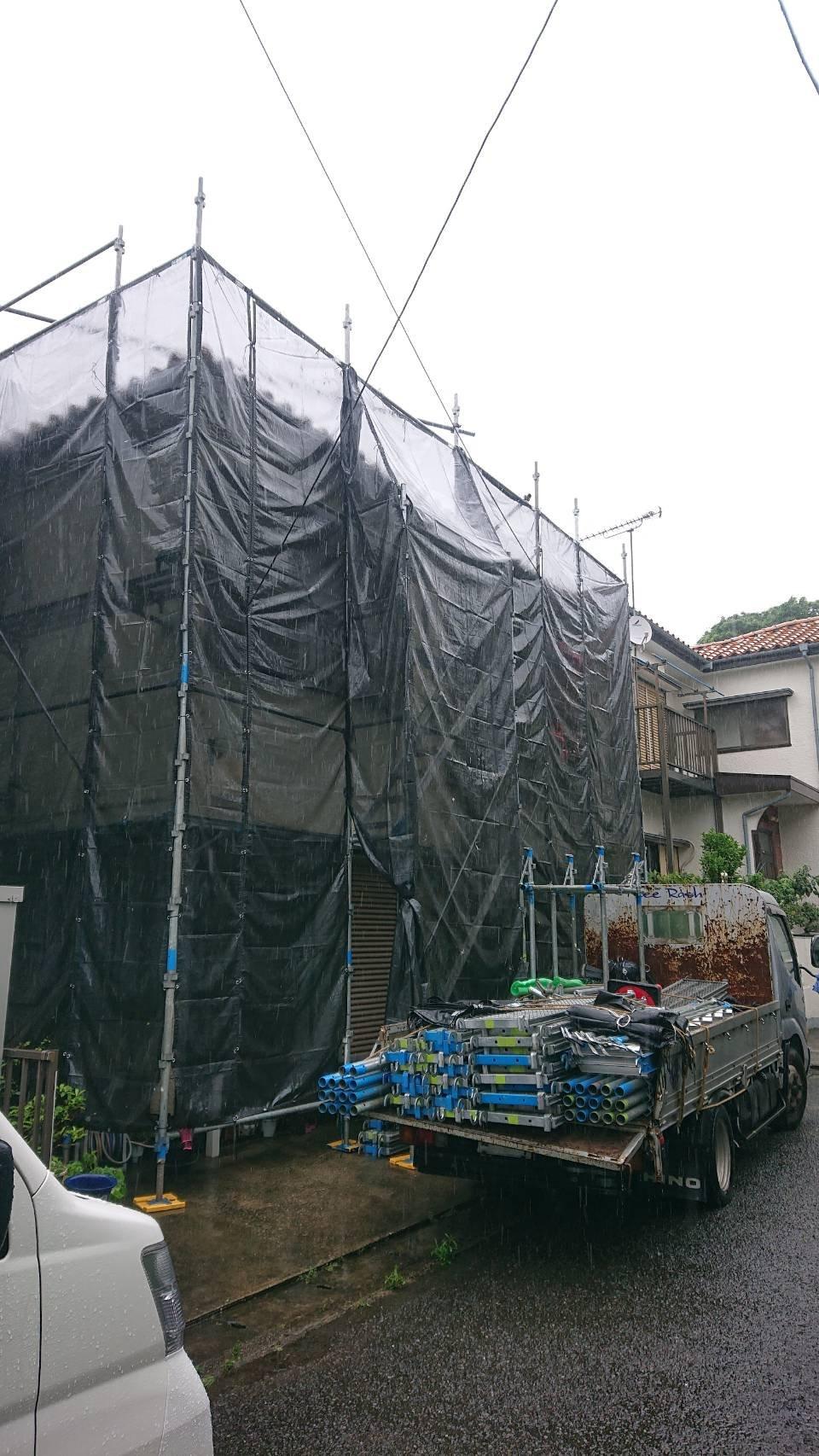 神奈川県横須賀市大矢部 足場工事施工事例 外壁塗装