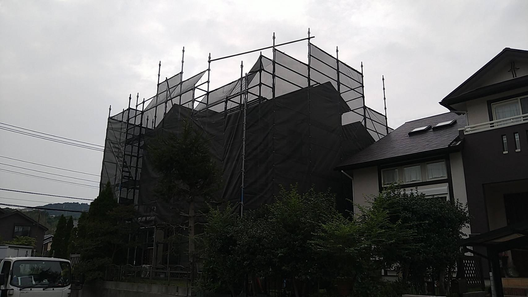神奈川県横須賀市池上 足場工事施工事例 屋根工事