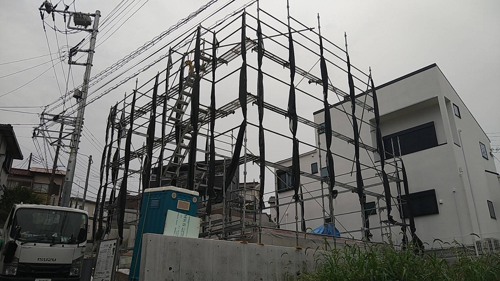 神奈川県横須賀市平作 足場工事施工事例   先行足場