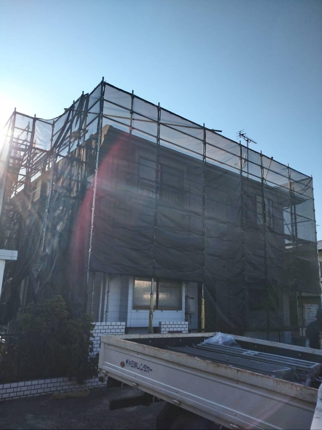 神奈川県横須賀市桜が丘 足場工事施工事例 外壁塗装