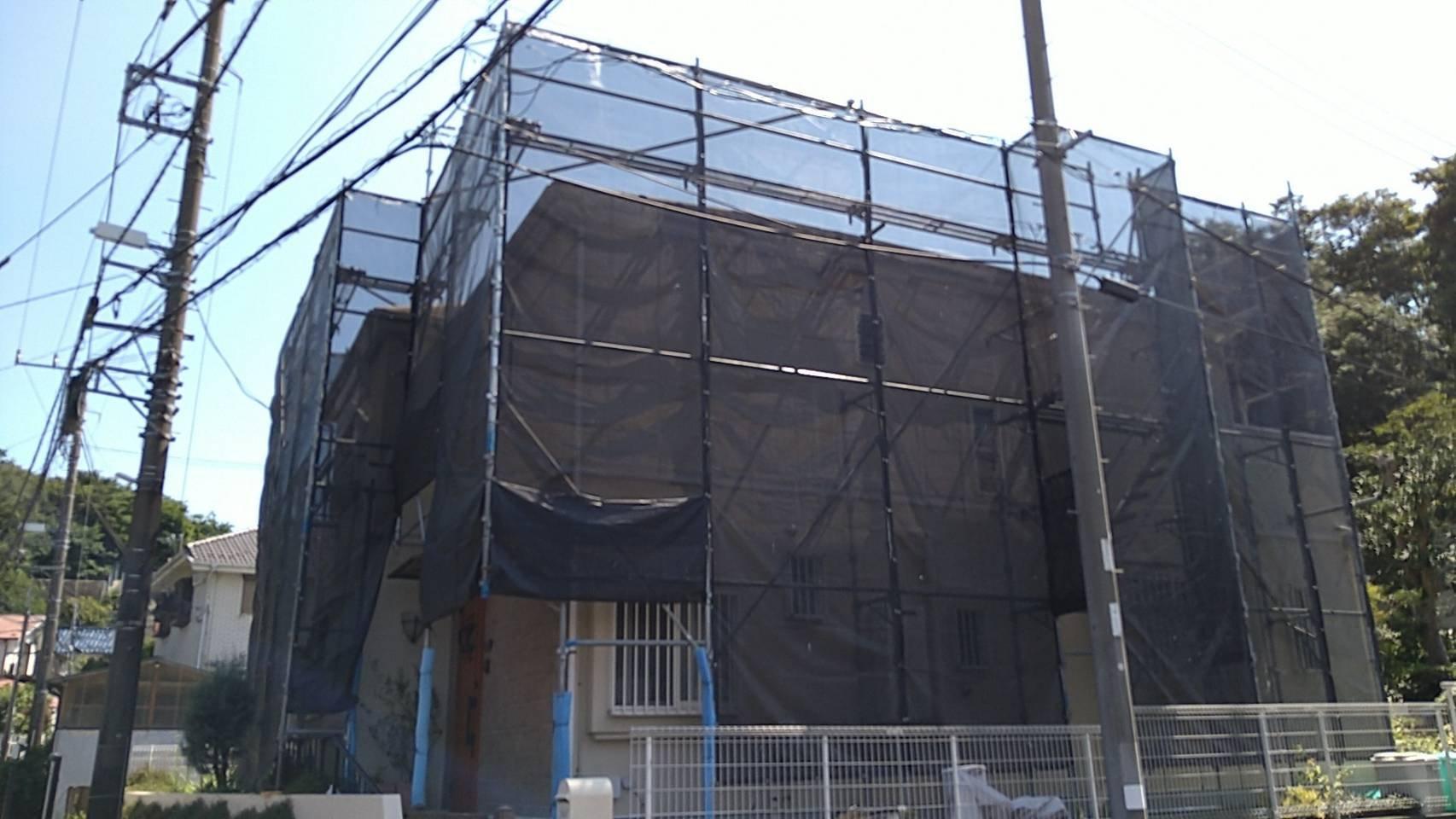 神奈川県横浜市 足場工事施工事例 屋根塗装