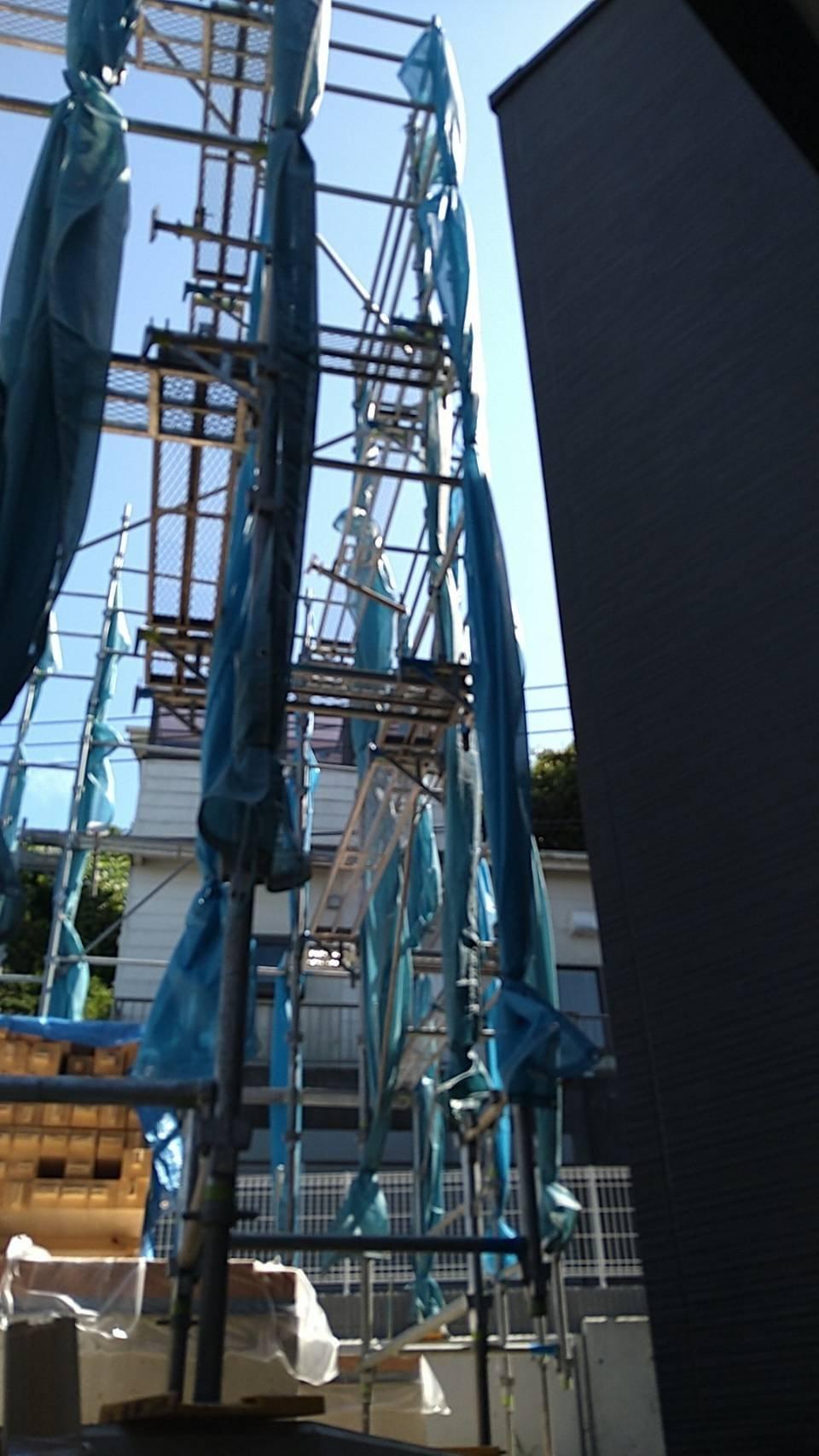 神奈川県横須賀市馬堀町 足場工事施工事例 新築 先行足場