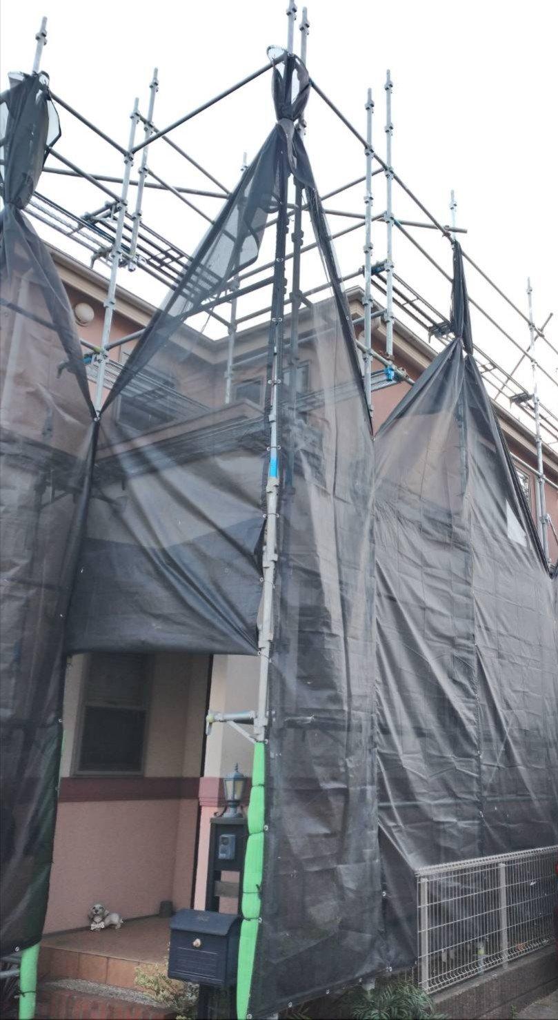 野崎工業 足場工事 施工事例            千葉県松戸市                                        外壁塗装 屋根工事 太陽光