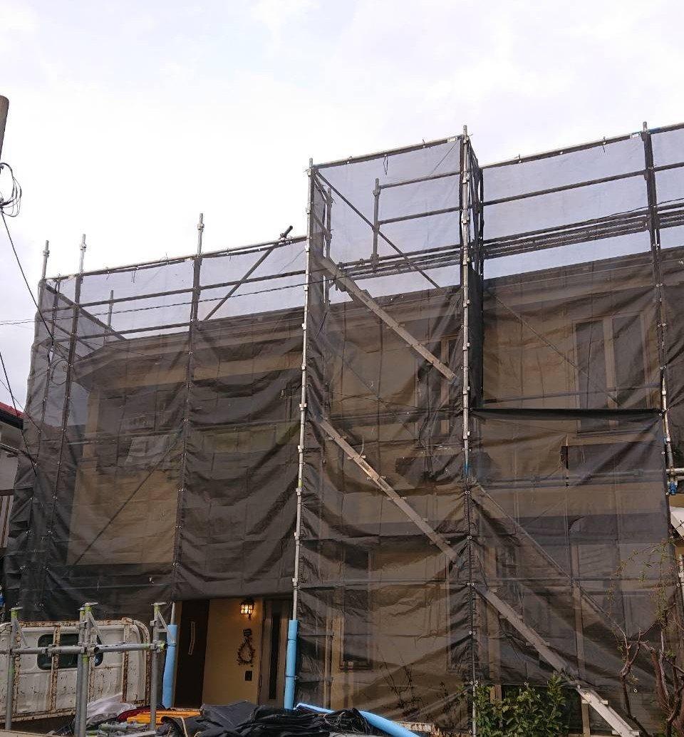 野崎工業 足場工事 施工事例                  神奈川県大和市                                                屋根工事 太陽光