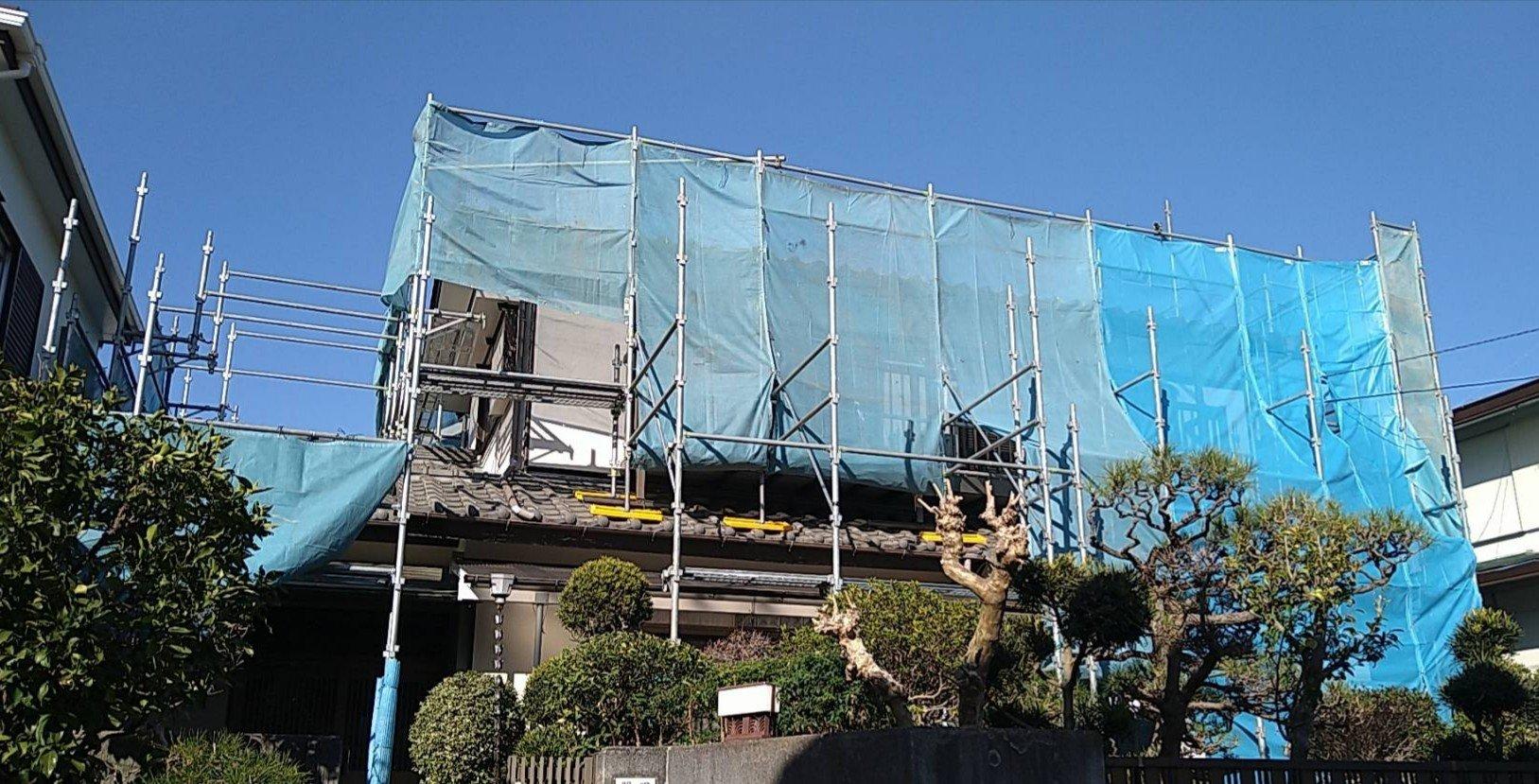 野崎工業 神奈川県藤沢市                   足場工事 施工事例                                   外壁塗装
