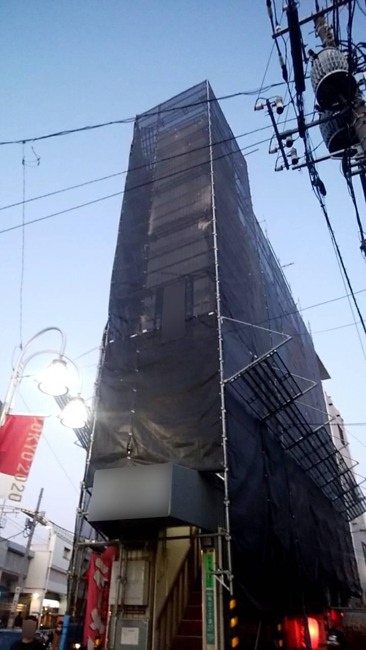野崎工業 11月 世田谷区  外壁塗装工事用足場工事