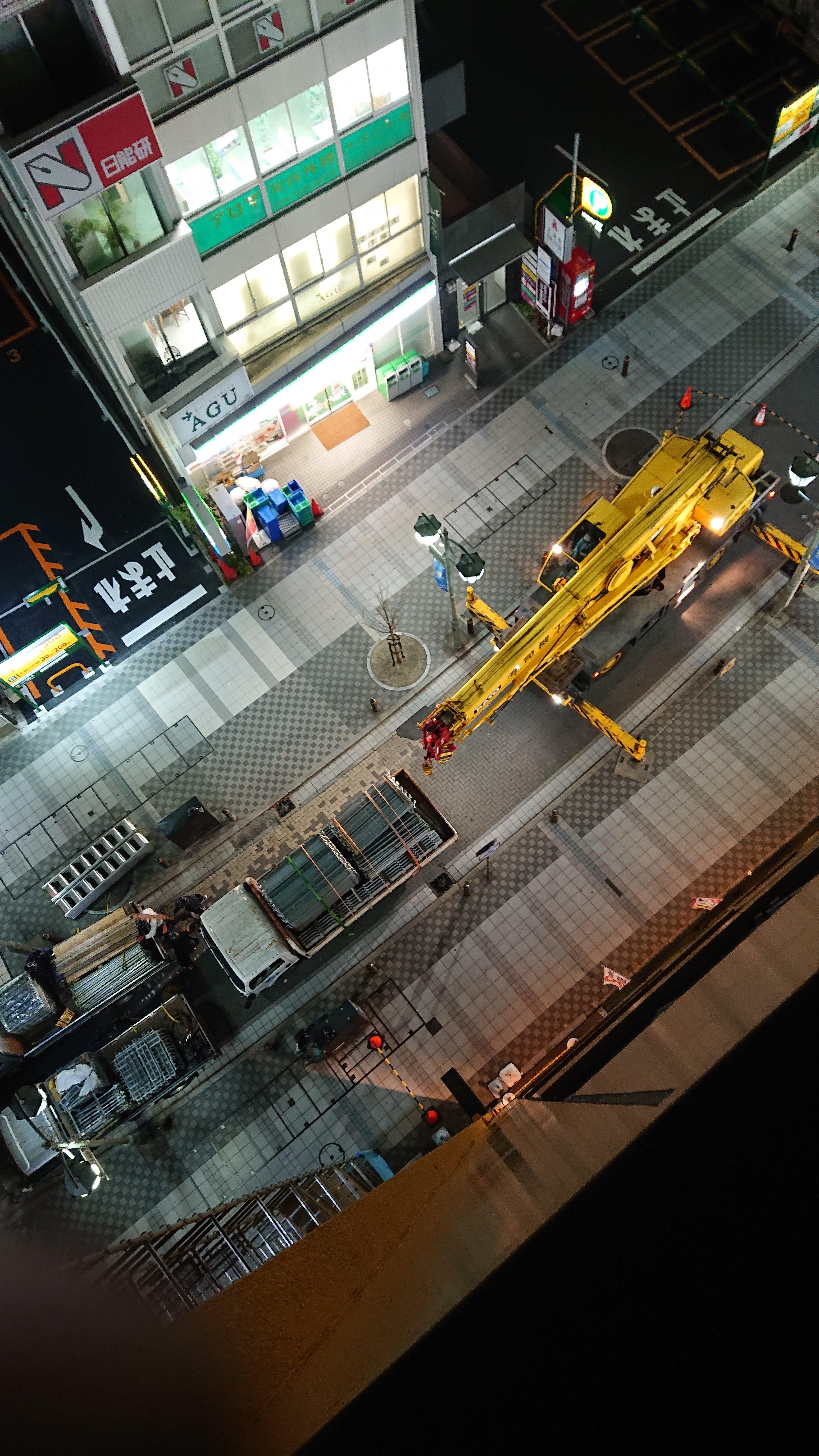 野崎工業 足場工事 施工事例                        神奈川県横須賀市                                    足場資材荷揚げ
