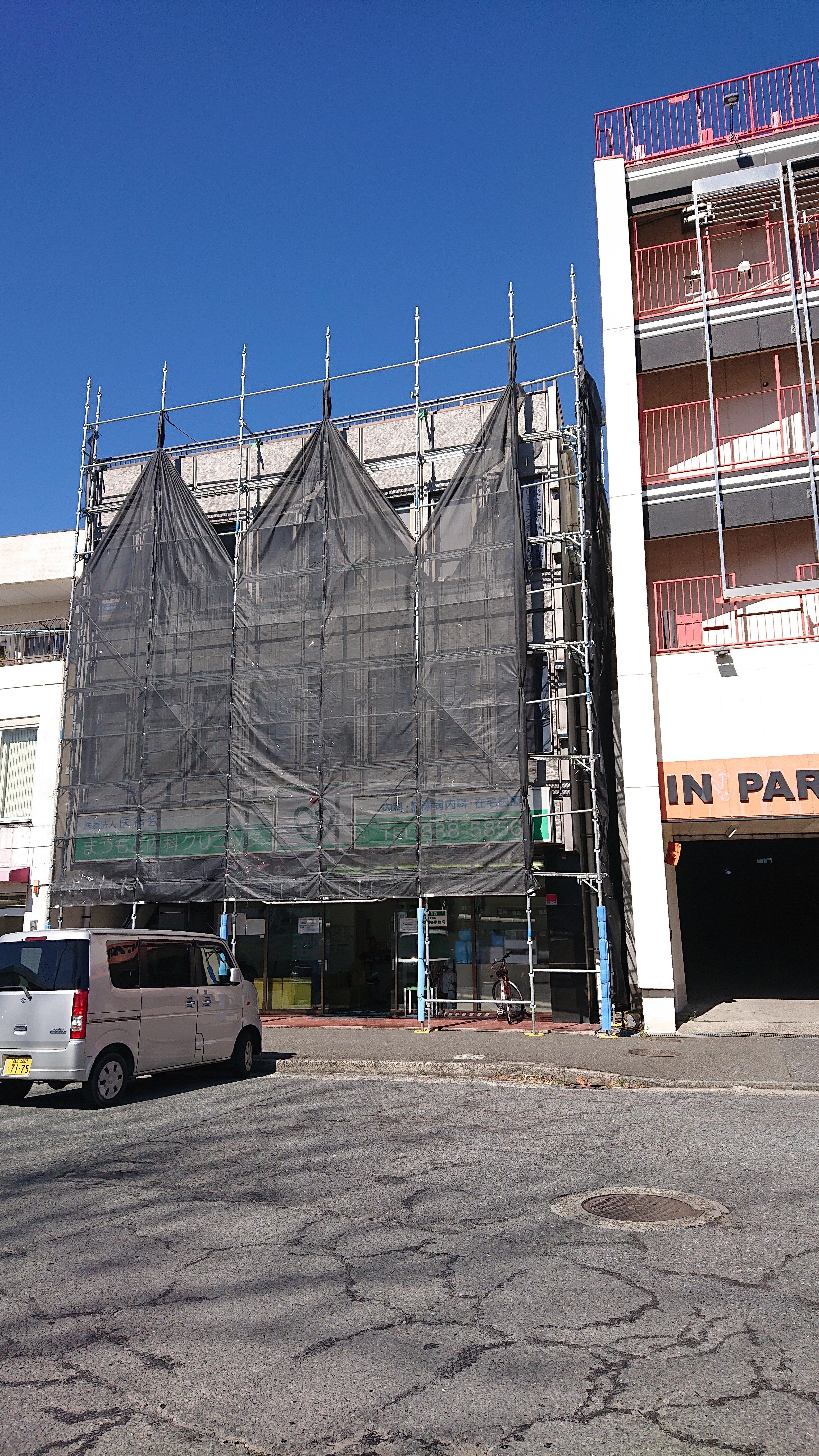 野崎工業 足場工事 施工事例                神奈川県横須賀市久里浜                          外壁塗装